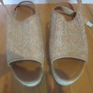 Straw Wedge Sandals, Size 12